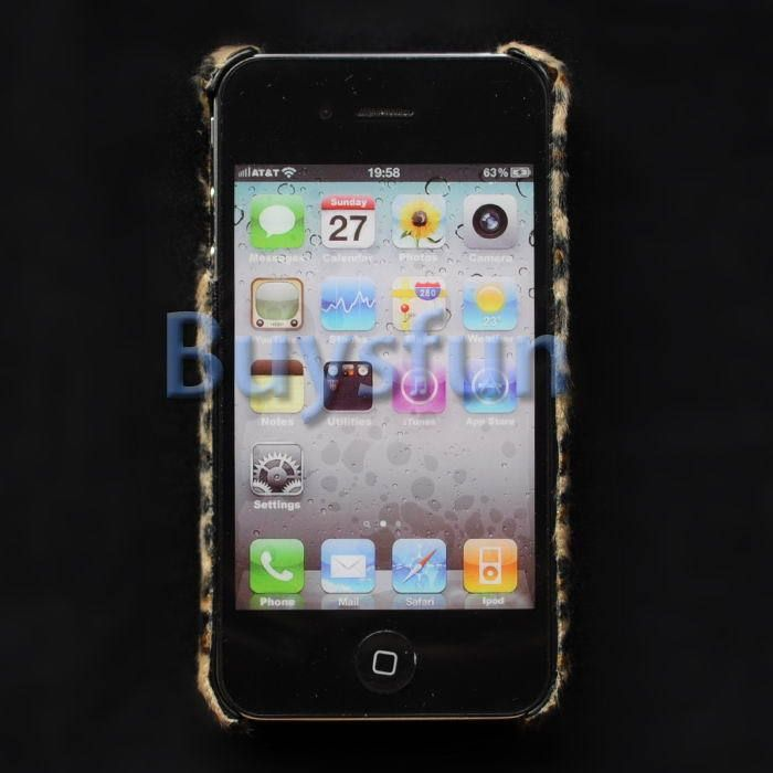 Brown Leopard print faux fur Hard Cover Case Skin for Apple iPhone 4