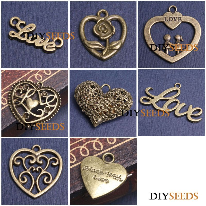 Antique Brass Bronze Love Jewelry Findings Charms & Pendant Pick
